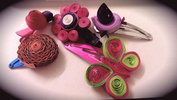 DIY Paper Quilling Hair Clips