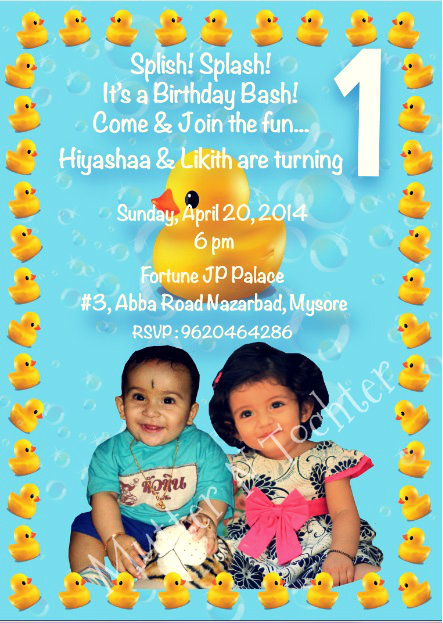 Rubber Duck Themed Birthday Party Invite