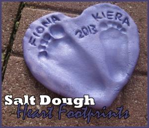 Salt dough foot print art