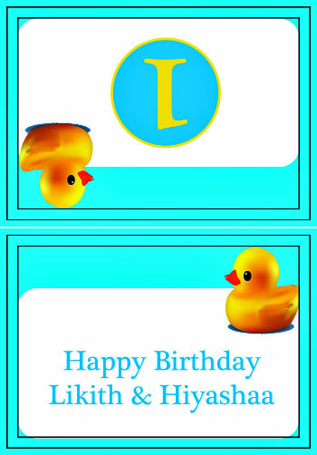 Rubber Duck Themed Birthday Party Table top cards