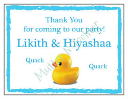 Rubber Duck Themed Birthday Party Thank You Cards