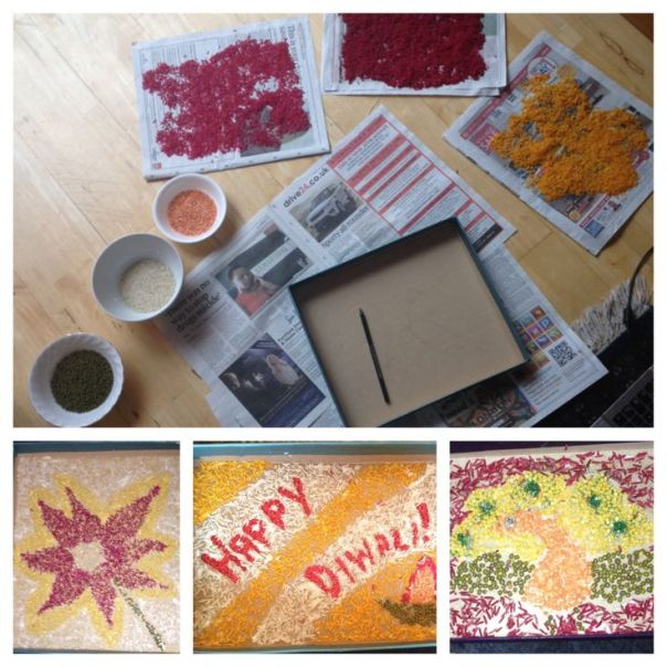 Rangoli design using lentils and colored rice