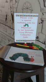 The Very Hungry Caterpillar Birthday Party - Keepsake book for guests to write wishes for the birthday girl