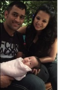 MS Dhoni with his baby Ziva