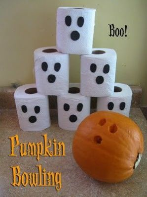 Halloween party game-Tissue Roll and Pumpkin Bowling