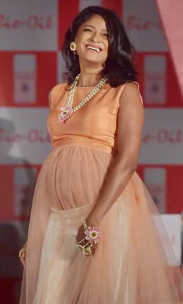 Mumbai: Pregnant model Carol Gracias walks the ramp on the eve of mother day in Mumbai.