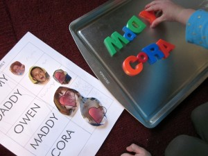 Fun ways to teach children how to write their name: Letter Magnets